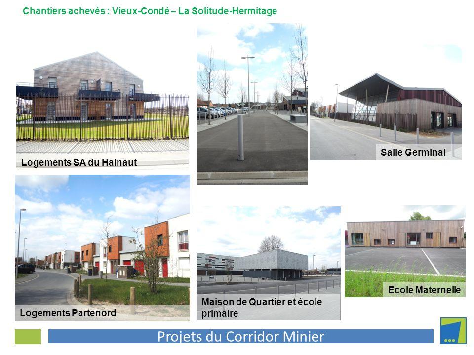 Projets du Corridor Minier Logements Partenord Chantiers achevés : Vieux-Condé – La Solitude-Hermitage Logements SA du Hainaut Ecole Maternelle Salle