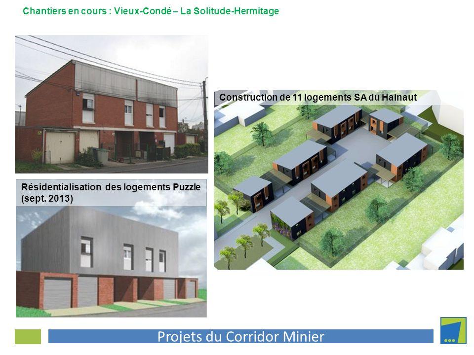 Projets du Corridor Minier Chantiers en cours : Vieux-Condé – La Solitude-Hermitage Résidentialisation des logements Puzzle (sept. 2013) Construction