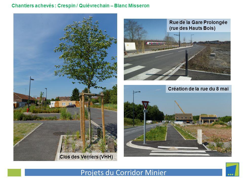 Projets du Corridor Minier Création de la rue du 8 mai Clos des Verriers (VHH) Rue de la Gare Prolongée (rue des Hauts Bois) Chantiers achevés : Cresp