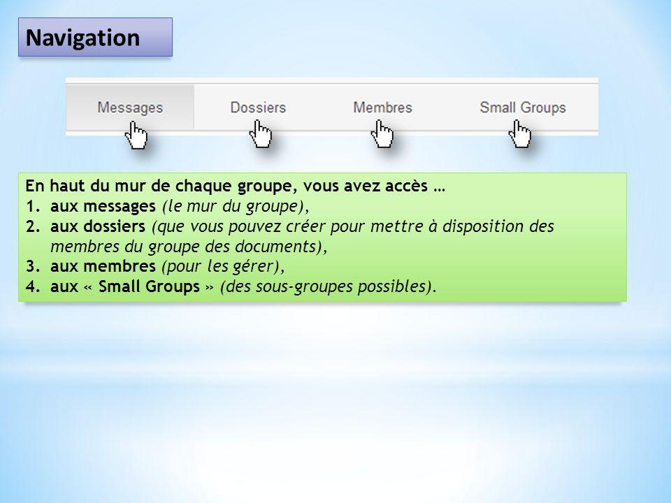 Navigation En haut du mur de chaque groupe, vous avez accès … 1.aux messages (le mur du groupe), 2.aux dossiers (que vous pouvez créer pour mettre à d