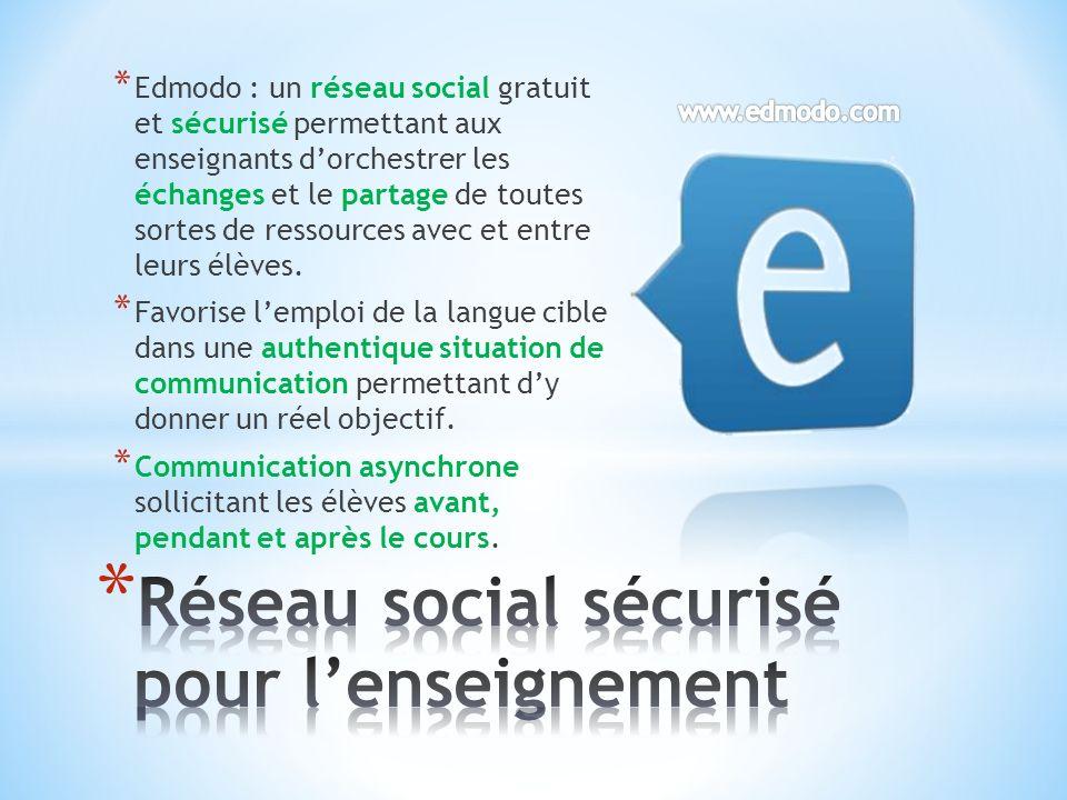 * Edmodo : un réseau social gratuit et sécurisé permettant aux enseignants dorchestrer les échanges et le partage de toutes sortes de ressources avec