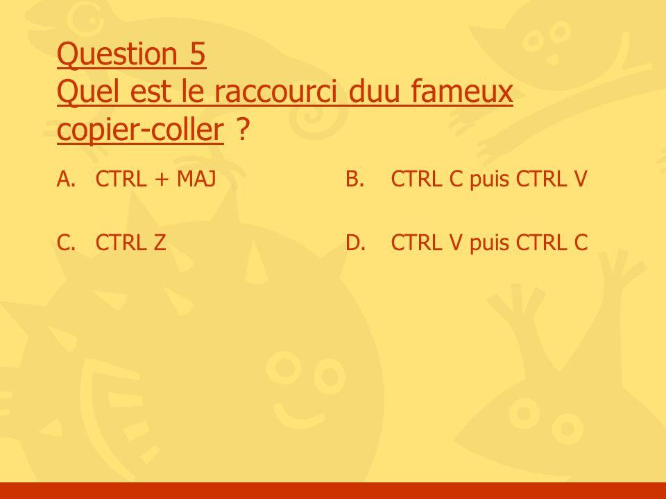 Question 5 Quel est le raccourci duu fameux copier-coller ? A. CTRL + MAJ C. CTRL Z B. CTRL C puis CTRL V D. CTRL V puis CTRL C
