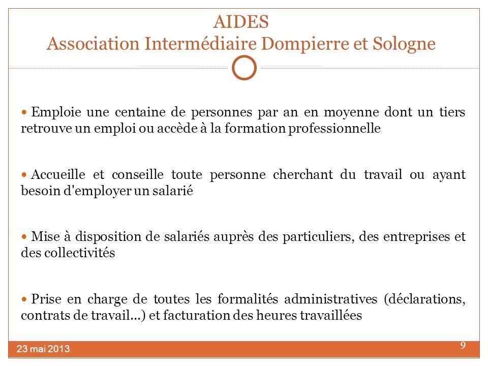 10 POLE EMPLOI MOULINS 42 Place Jean Moulin – CS 90411 0304 MOULINS CEDEX 23 mai 2013