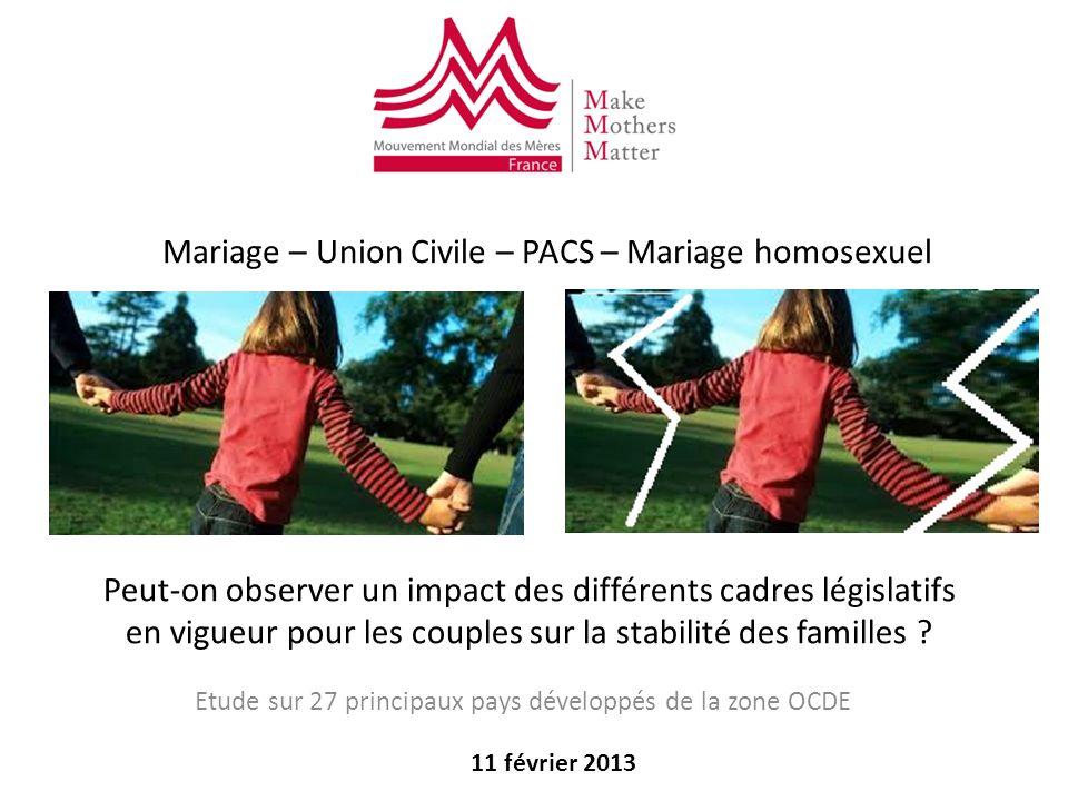 Peut-on observer un impact des différents cadres législatifs en vigueur pour les couples sur la stabilité des familles ? Etude sur 27 principaux pays