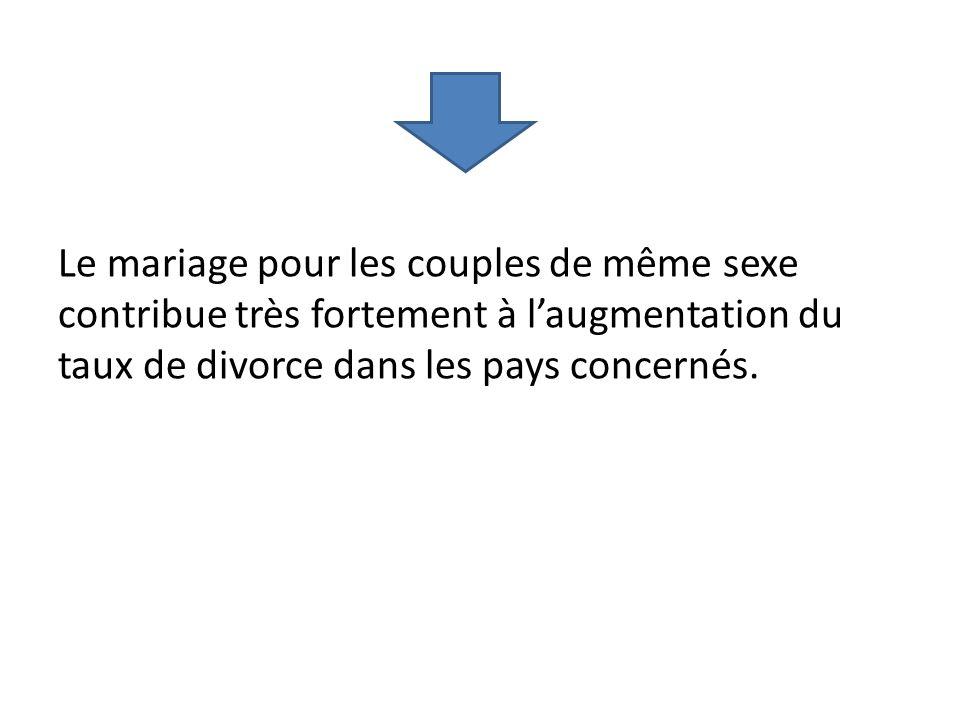 Le mariage pour les couples de même sexe contribue très fortement à laugmentation du taux de divorce dans les pays concernés.
