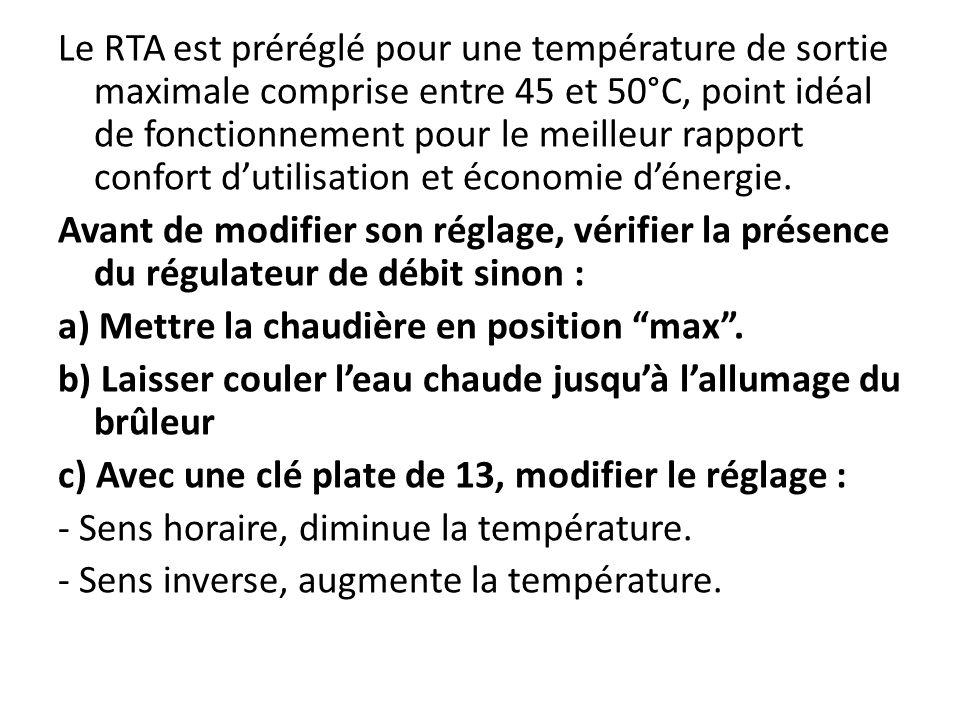 Quest-ce le R.T.A ? R.T.A = Régulateur de Température Automatique Eau chaude régulée entre 45°C et 50° C Arrivée eau sanitaire Présence dun régulateur