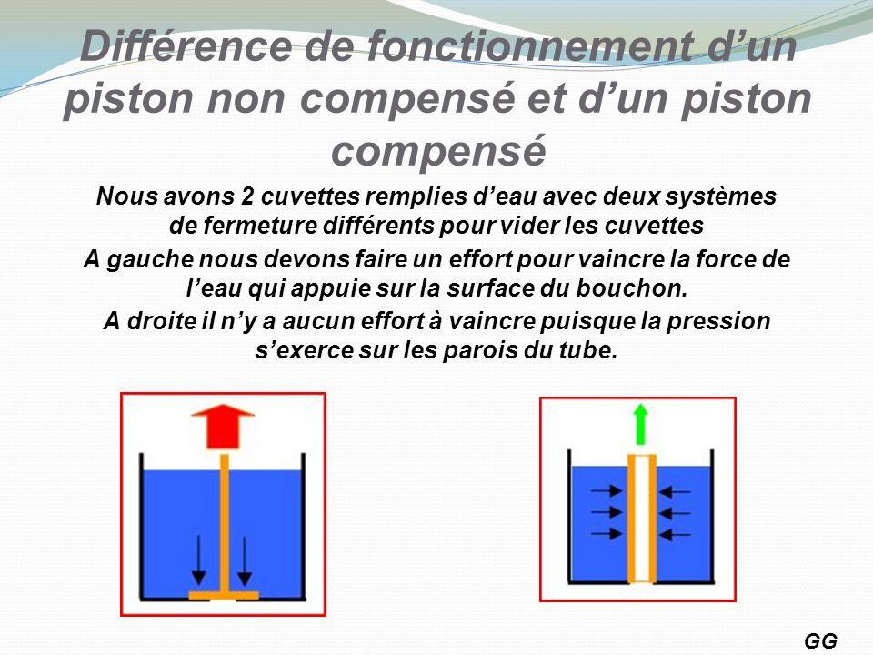 Différence de fonctionnement dun piston non compensé et dun piston compensé GG 11 Nous avons 2 cuvettes remplies deau avec deux systèmes de fermeture