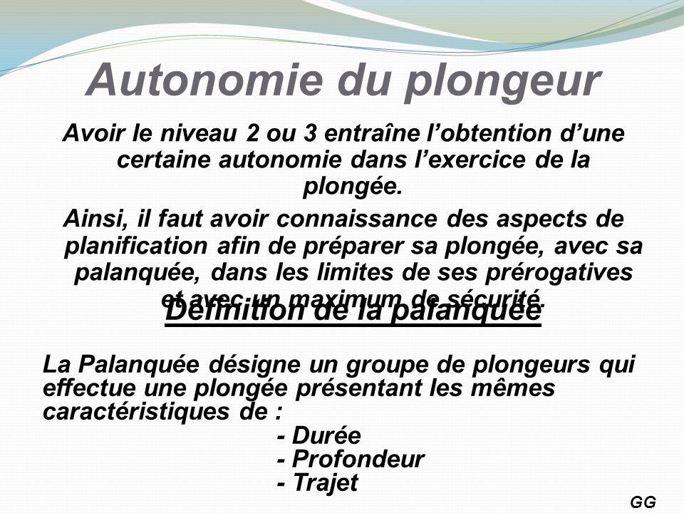 Autonomie du plongeur Avoir le niveau 2 ou 3 entraîne lobtention dune certaine autonomie dans lexercice de la plongée. Ainsi, il faut avoir connaissan