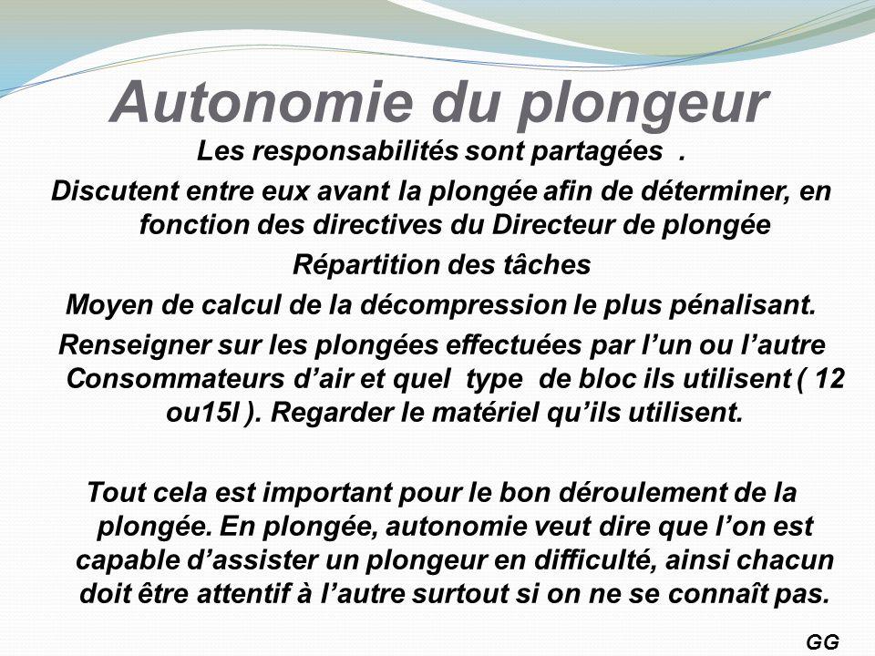 Autonomie du plongeur Les responsabilités sont partagées. Discutent entre eux avant la plongée afin de déterminer, en fonction des directives du Direc