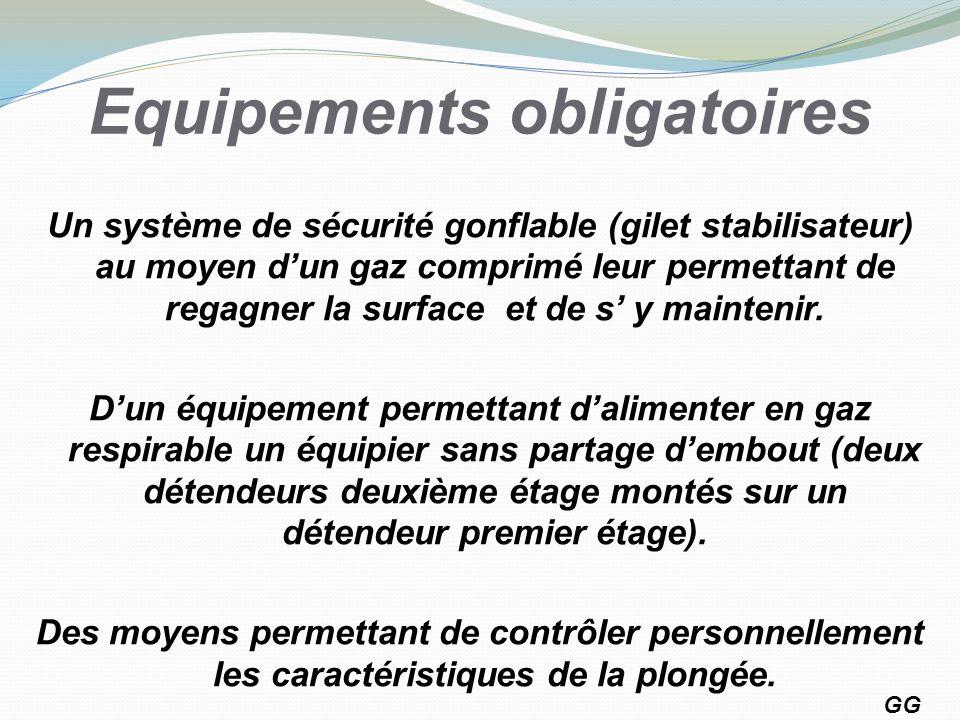 Equipements obligatoires Un système de sécurité gonflable (gilet stabilisateur) au moyen dun gaz comprimé leur permettant de regagner la surface et de