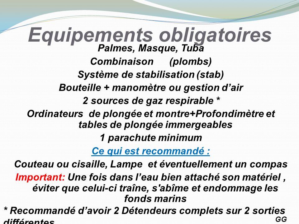 Equipements obligatoires Palmes, Masque, Tuba Combinaison (plombs) Système de stabilisation (stab) Bouteille + manomètre ou gestion dair 2 sources de