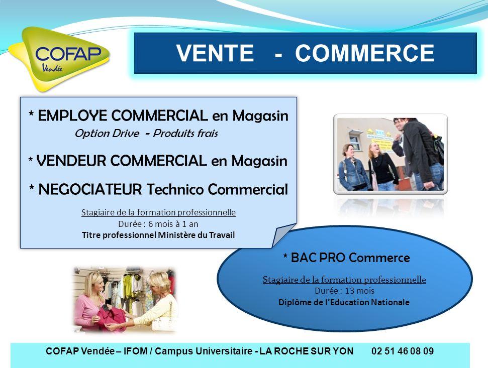VENTE - COMMERCE COFAP Vendée – IFOM / Campus Universitaire - LA ROCHE SUR YON 02 51 46 08 09 * EMPLOYE COMMERCIAL en Magasin Option Drive - Produits