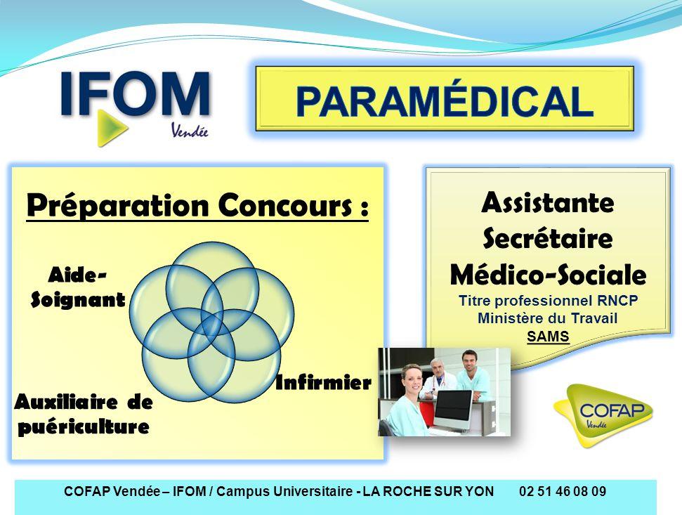 COFAP Vendée – IFOM / Campus Universitaire - LA ROCHE SUR YON 02 51 46 08 09 Préparation Concours : Infirmier Aide- Soignant Auxiliaire de puéricultur