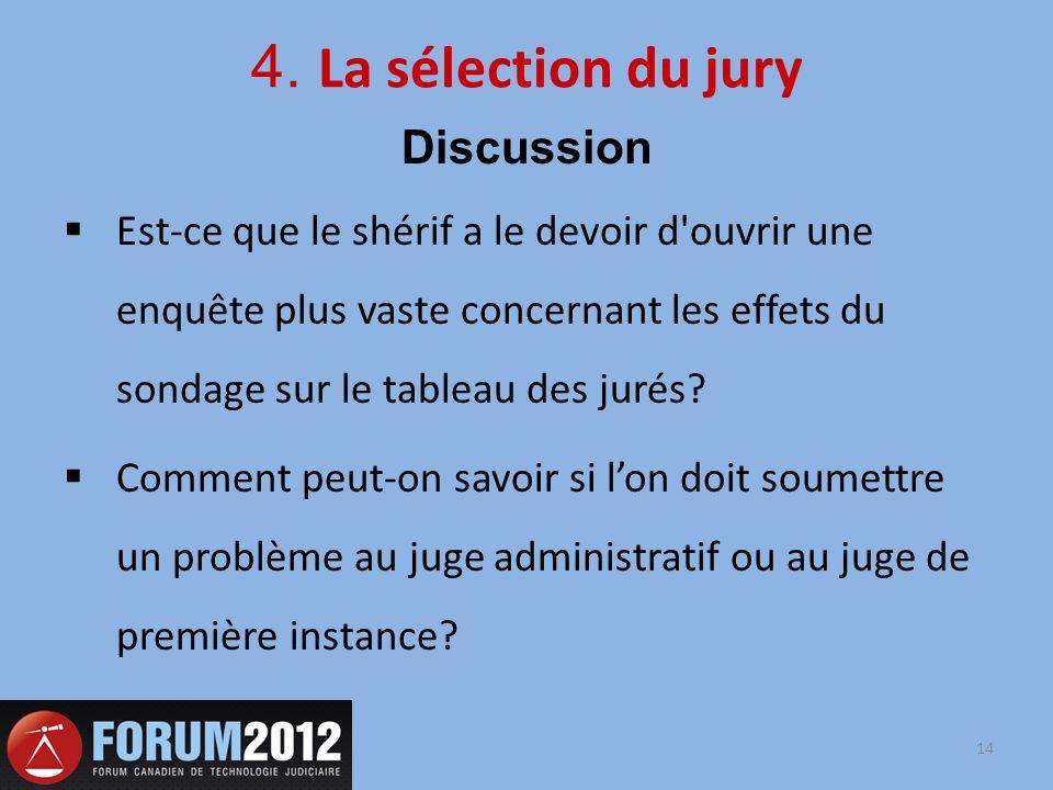 4. La sélection du jury Discussion Est-ce que le shérif a le devoir d'ouvrir une enquête plus vaste concernant les effets du sondage sur le tableau de