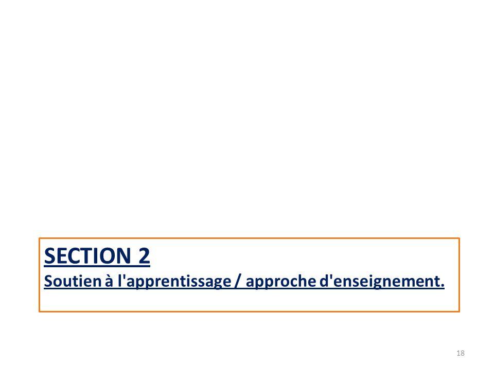 SECTION 2 Soutien à l apprentissage / approche d enseignement. 18