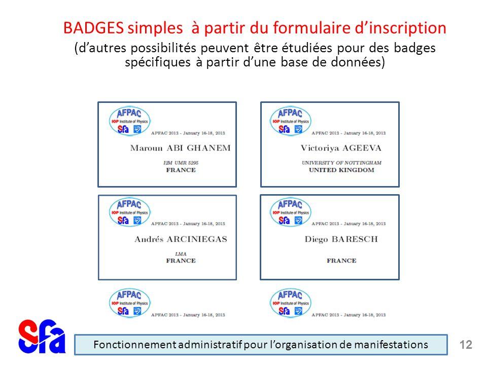 BADGES simples à partir du formulaire dinscription (dautres possibilités peuvent être étudiées pour des badges spécifiques à partir dune base de données) Fonctionnement administratif pour lorganisation de manifestations 12