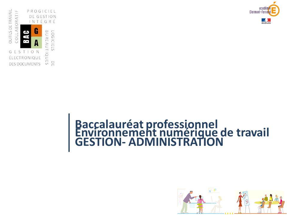 Baccalauréat professionnel GESTION- ADMINISTRATION Environnement numérique de travail