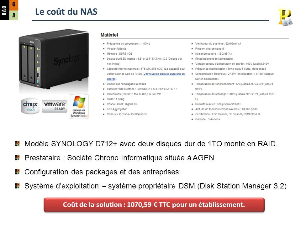 Le coût du NAS Modèle SYNOLOGY D712+ avec deux disques dur de 1TO monté en RAID. Prestataire : Société Chrono Informatique située à AGEN Configuration