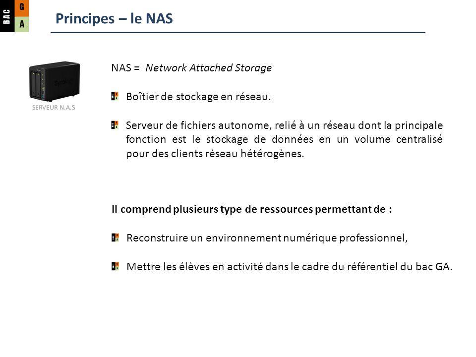 Principes – le NAS NAS = Network Attached Storage Boîtier de stockage en réseau. Serveur de fichiers autonome, relié à un réseau dont la principale fo