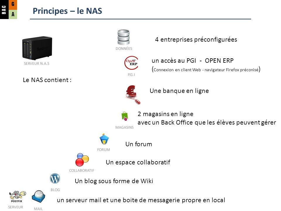 Principes – le NAS 4 entreprises préconfigurées un accès au PGI - OPEN ERP ( Connexion en client Web - navigateur Firefox préconisé ) un serveur mail