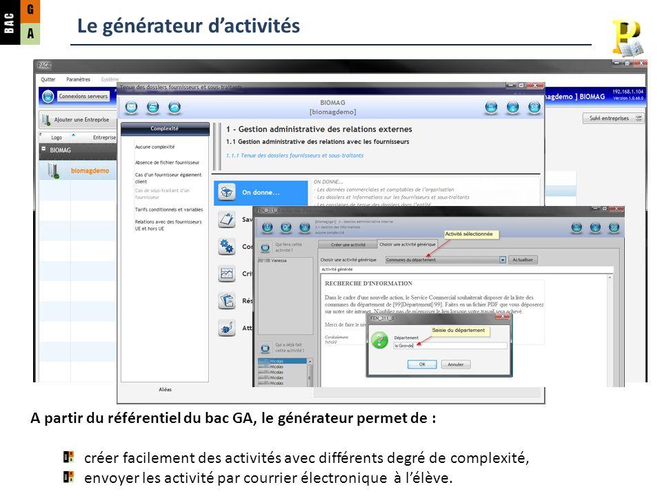 Le générateur dactivités A partir du référentiel du bac GA, le générateur permet de : créer facilement des activités avec différents degré de complexi