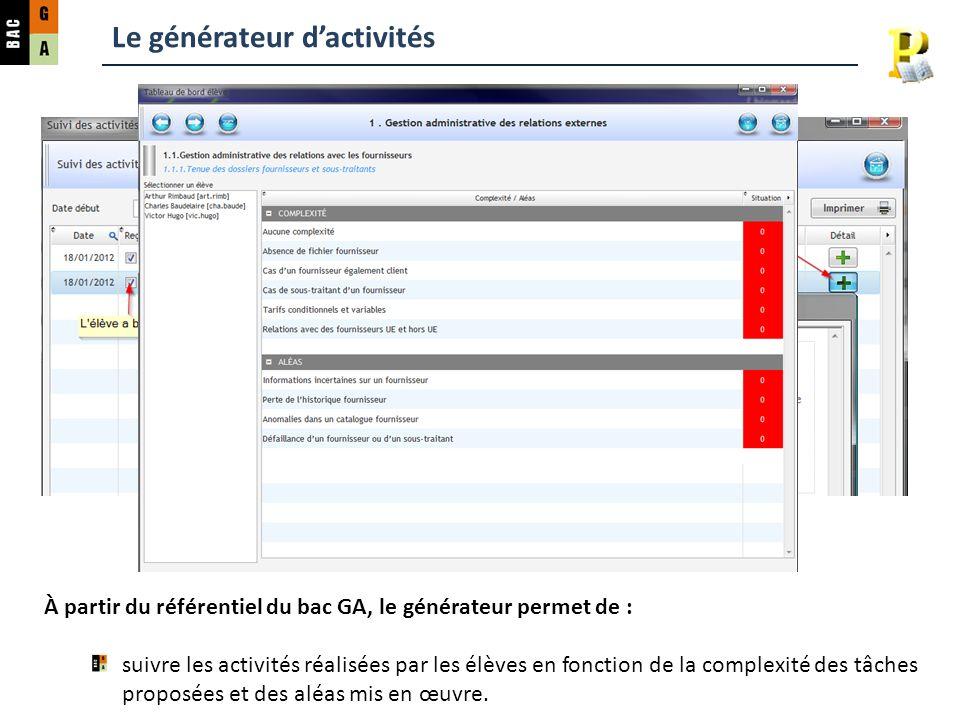 Le générateur dactivités À partir du référentiel du bac GA, le générateur permet de : suivre les activités réalisées par les élèves en fonction de la