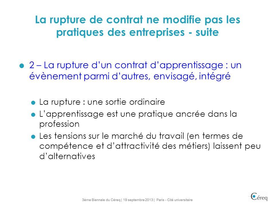 La rupture de contrat ne modifie pas les pratiques des entreprises - suite 2 – La rupture dun contrat dapprentissage : un évènement parmi dautres, env