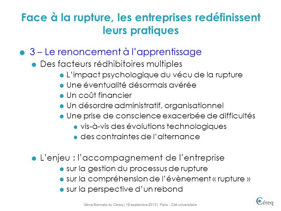 Face à la rupture, les entreprises redéfinissent leurs pratiques 3 – Le renoncement à lapprentissage Des facteurs rédhibitoires multiples Limpact psyc