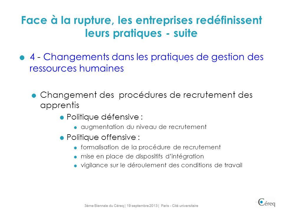 Face à la rupture, les entreprises redéfinissent leurs pratiques - suite 4 - Changements dans les pratiques de gestion des ressources humaines Changem