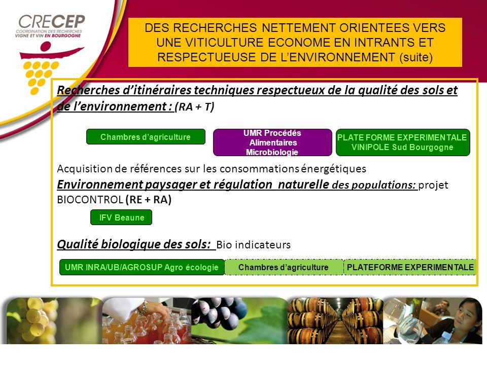 Chambres dagriculture PLATEFORME EXPERIMENTALE Recherches ditinéraires techniques respectueux de la qualité des sols et de lenvironnement : (RA + T) Acquisition de références sur les consommations énergétiques Environnement paysager et régulation naturelle des populations: projet BIOCONTROL (RE + RA) Qualité biologique des sols: Bio indicateurs IFV Beaune PLATE FORME EXPERIMENTALE VINIPOLE Sud Bourgogne UMR Procédés Alimentaires Microbiologie UMR INRA/UB/AGROSUP Agro écologieChambres dagriculture DES RECHERCHES NETTEMENT ORIENTEES VERS UNE VITICULTURE ECONOME EN INTRANTS ET RESPECTUEUSE DE LENVIRONNEMENT (suite)