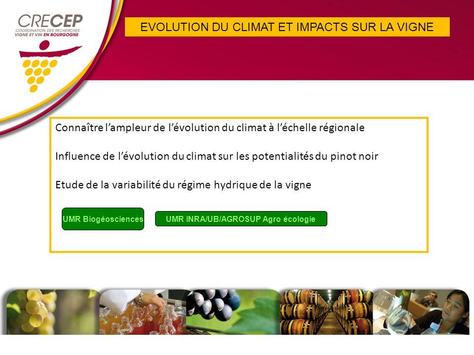 EVOLUTION DU CLIMAT ET IMPACTS SUR LA VIGNE Connaître lampleur de lévolution du climat à léchelle régionale Influence de lévolution du climat sur les potentialités du pinot noir Etude de la variabilité du régime hydrique de la vigne UMR Biogéosciences UMR INRA/UB/AGROSUP Agro écologie
