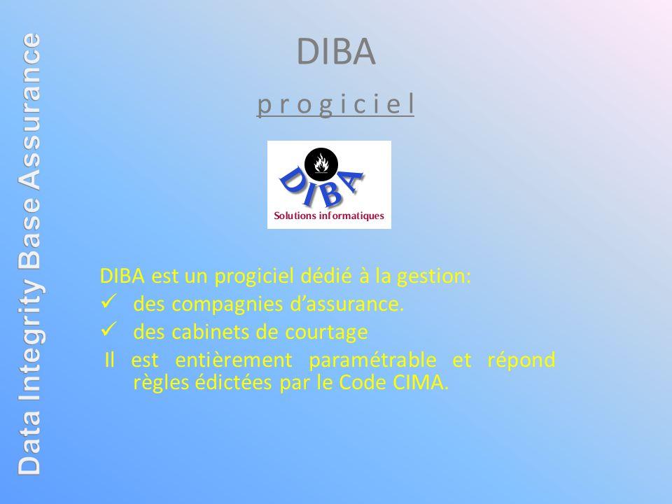 DIBA p r o g i c i e l DIBA est un progiciel dédié à la gestion: des compagnies dassurance. des cabinets de courtage Il est entièrement paramétrable e