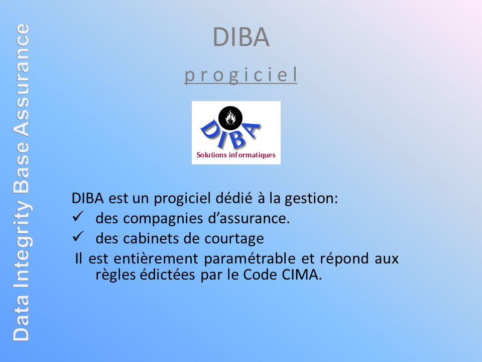 DIBA est un progiciel dédié à la gestion: des compagnies dassurance. des cabinets de courtage Il est entièrement paramétrable et répond aux règles édi