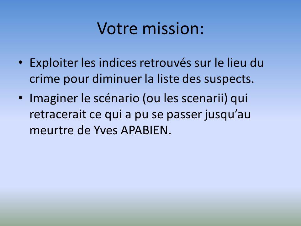 Votre mission: Exploiter les indices retrouvés sur le lieu du crime pour diminuer la liste des suspects. Imaginer le scénario (ou les scenarii) qui re