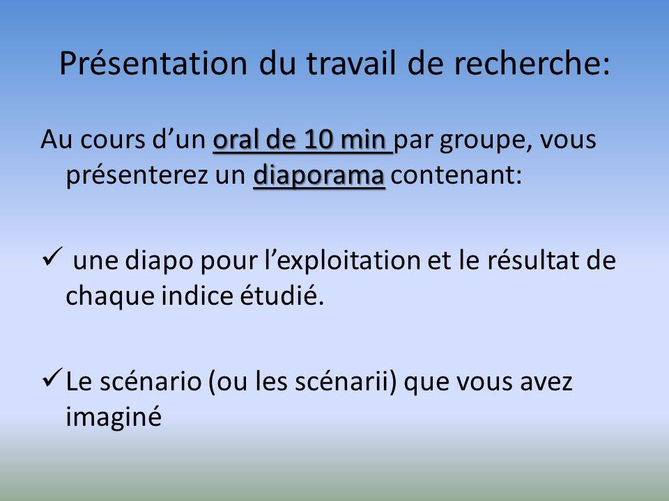 Présentation du travail de recherche: oral de 10 min diaporama Au cours dun oral de 10 min par groupe, vous présenterez un diaporama contenant: une di