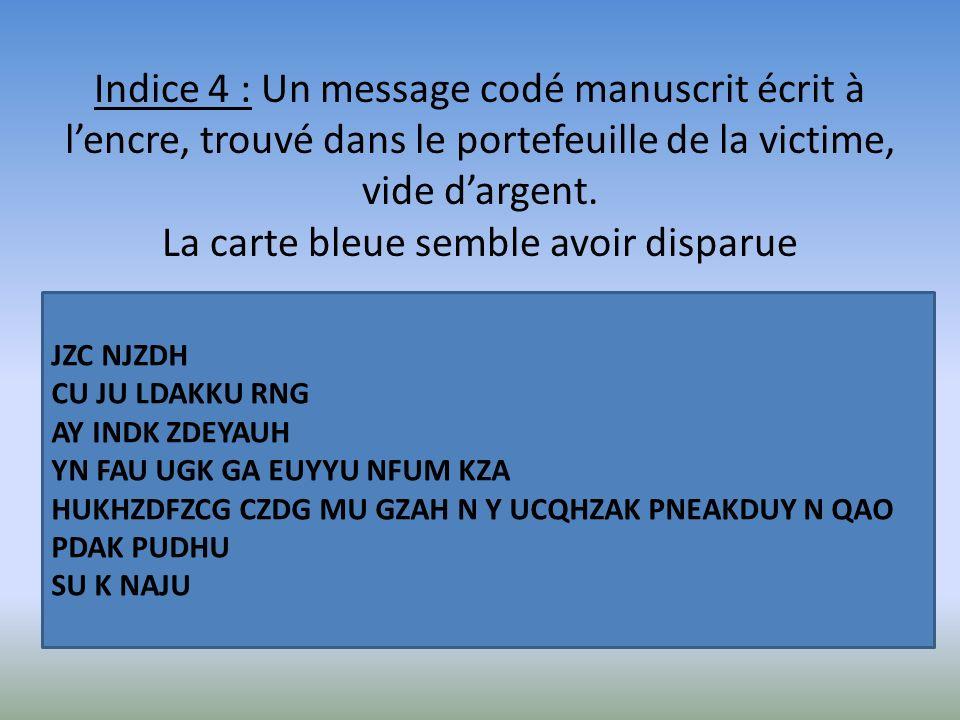 Indice 4 : Un message codé manuscrit écrit à lencre, trouvé dans le portefeuille de la victime, vide dargent. La carte bleue semble avoir disparue JZC