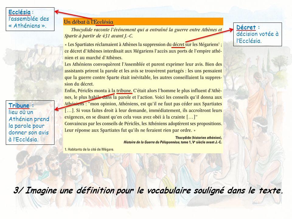 3/ Imagine une définition pour le vocabulaire souligné dans le texte. Ecclésia : lassemblée des « Athéniens ». Décret : décision votée à lEcclésia. Tr