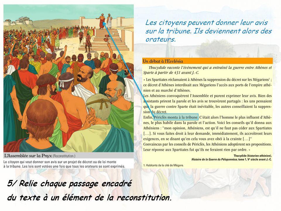5/ Relie chaque passage encadré du texte à un élément de la reconstitution. Les citoyens peuvent donner leur avis sur la tribune. Ils deviennent alors