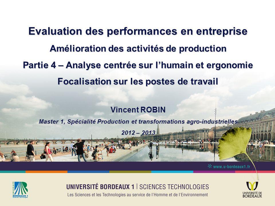 Evaluation des performances en entreprise Amélioration des activités de production Partie 4 – Analyse centrée sur lhumain et ergonomie Focalisation su