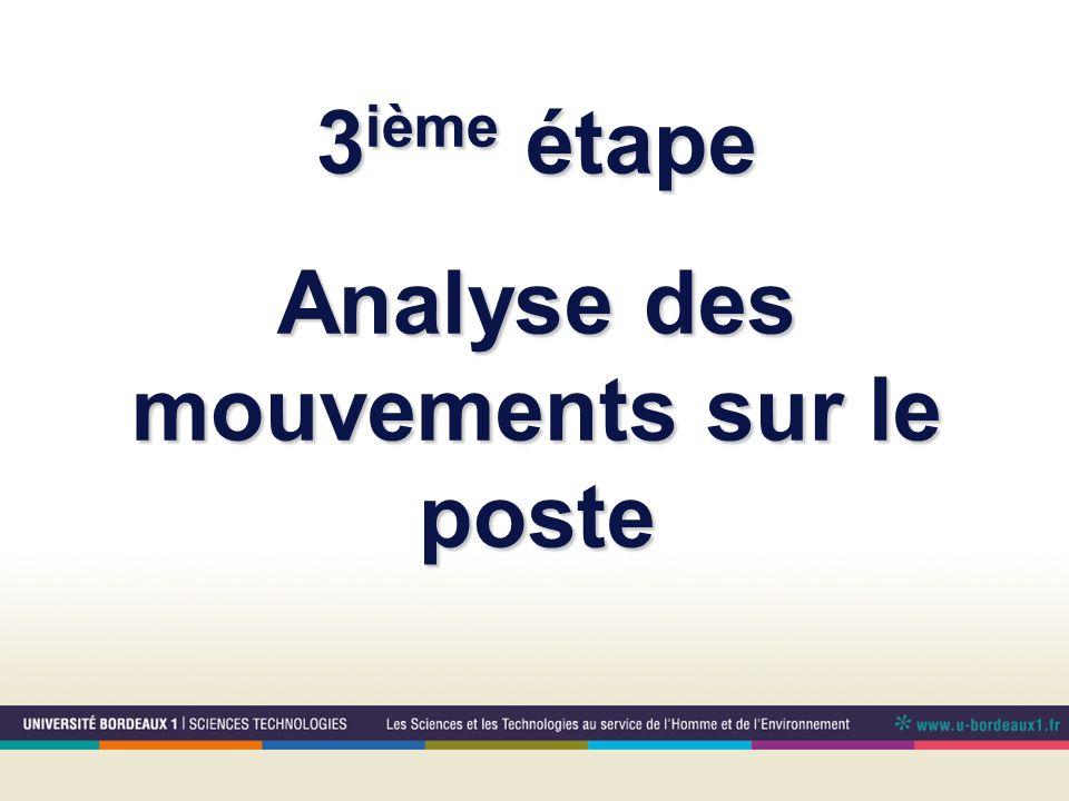 3 ième étape Analyse des mouvements sur le poste