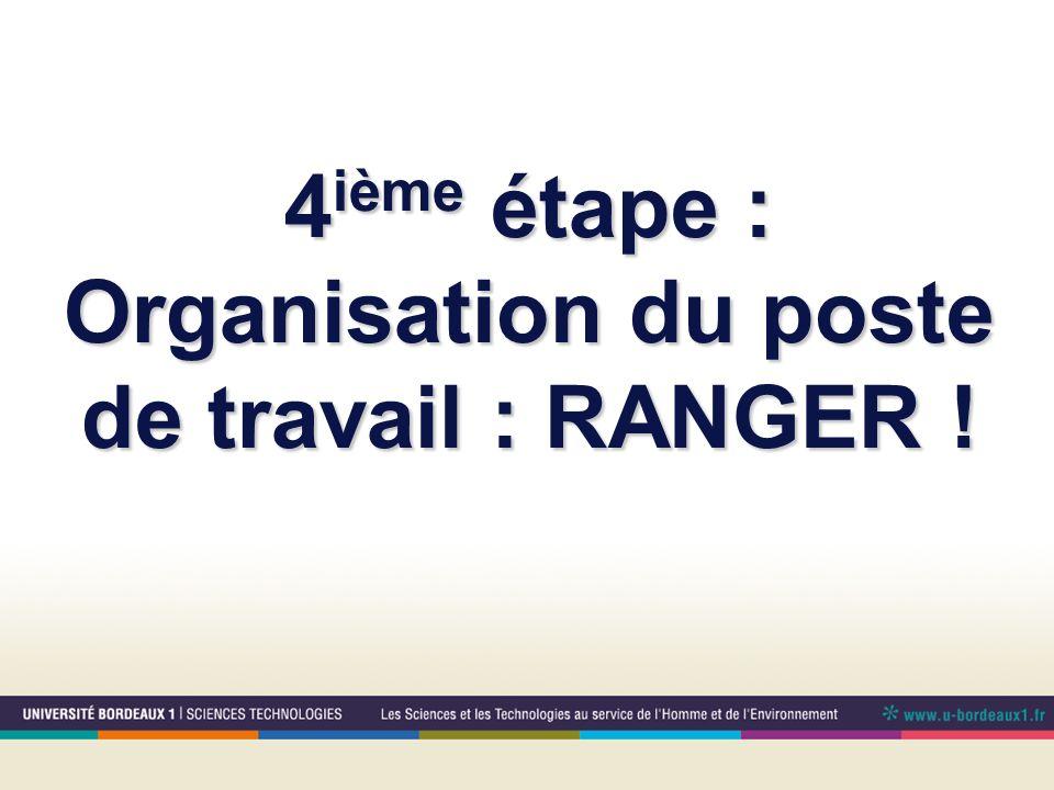 4 ième étape : Organisation du poste de travail : RANGER !