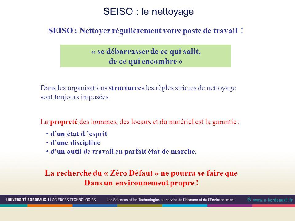 SEISO : le nettoyage « se débarrasser de ce qui salit, de ce qui encombre » Dans les organisations structurées les règles strictes de nettoyage sont t