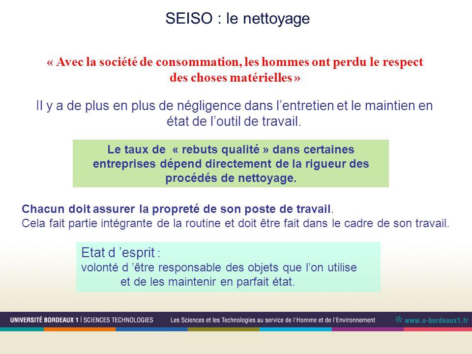 SEISO : le nettoyage Le taux de « rebuts qualité » dans certaines entreprises dépend directement de la rigueur des procédés de nettoyage. « Avec la so