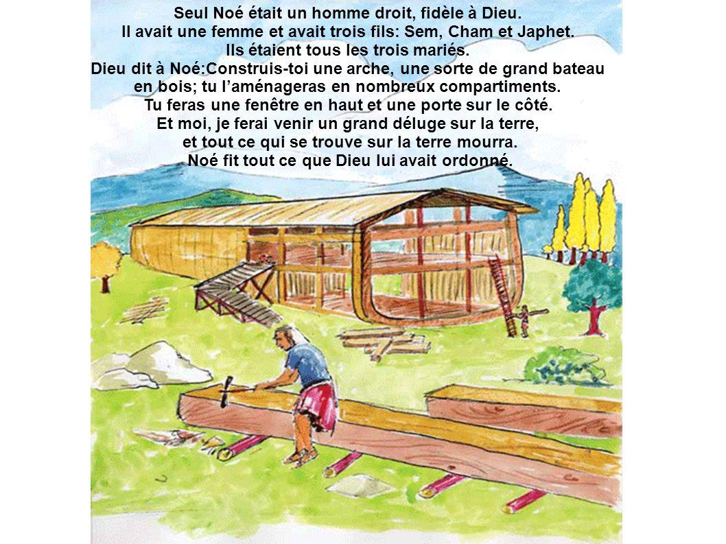 Seul Noé était un homme droit, fidèle à Dieu. Il avait une femme et avait trois fils: Sem, Cham et Japhet. Ils étaient tous les trois mariés. Dieu dit