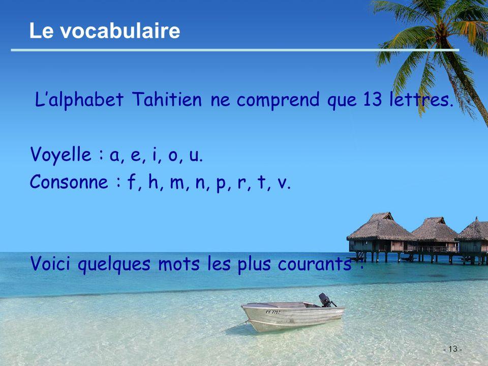 - 13 - Le vocabulaire Lalphabet Tahitien ne comprend que 13 lettres. Voyelle : a, e, i, o, u. Consonne : f, h, m, n, p, r, t, v. Voici quelques mots l