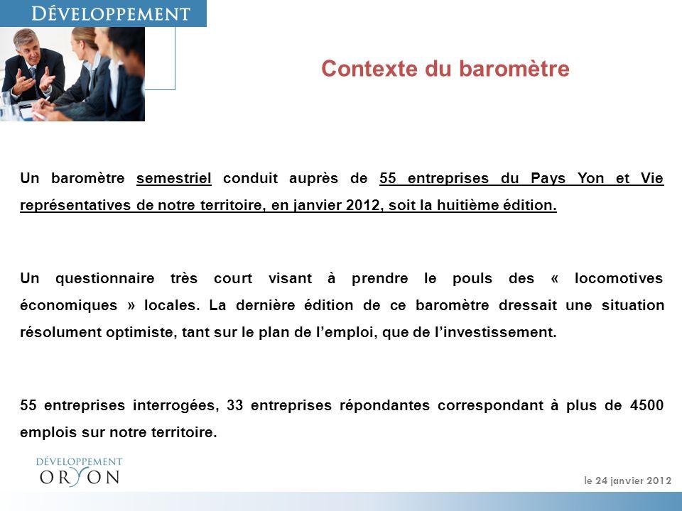 le 24 janvier 2012 Contexte du baromètre Un baromètre semestriel conduit auprès de 55 entreprises du Pays Yon et Vie représentatives de notre territoire, en janvier 2012, soit la huitième édition.