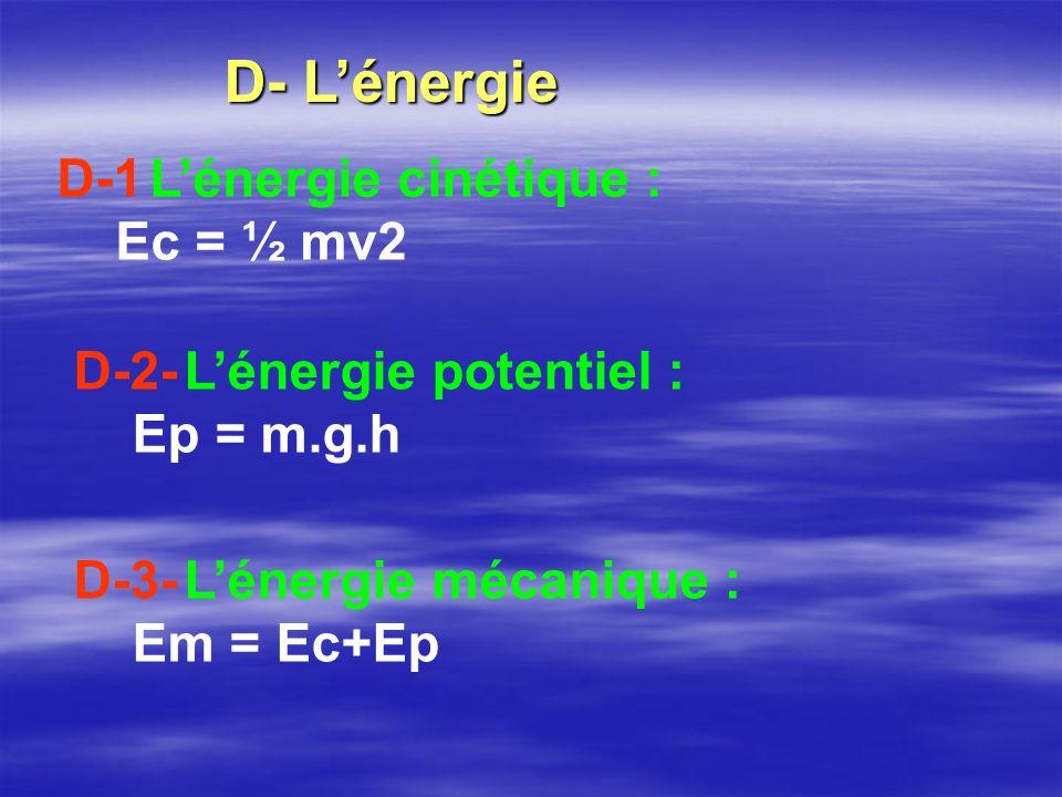 D- Lénergie D-1 Lénergie cinétique : Ec = ½ mv2 D-2- Lénergie potentiel : Ep = m.g.h D-3- Lénergie mécanique : Em = Ec+Ep