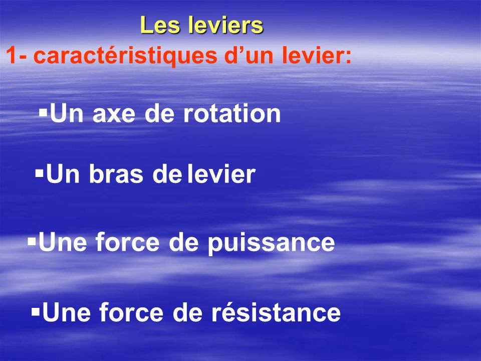 Une force de résistance Les leviers 1- caractéristiques dun levier: Un axe de rotation Un bras de levier Une force de puissance