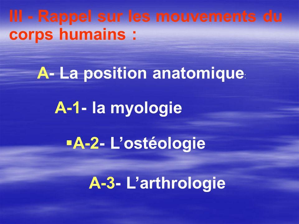 A-3- Larthrologie III - Rappel sur les mouvements du corps humains : A- La position anatomique : A-1- la myologie A-2- Lostéologie