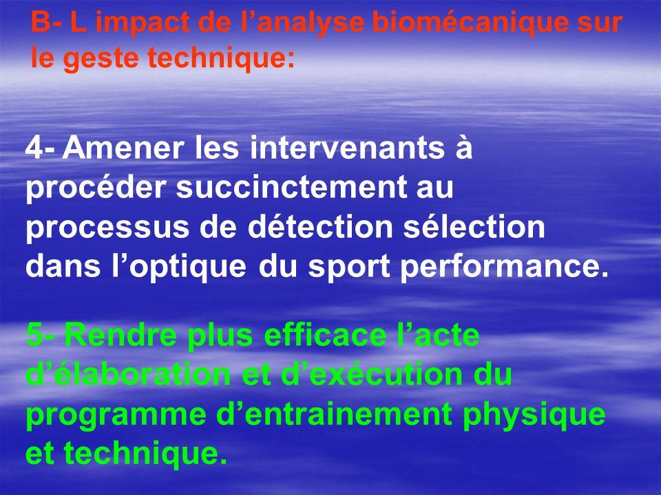 B- L impact de lanalyse biomécanique sur le geste technique: 4- Amener les intervenants à procéder succinctement au processus de détection sélection d